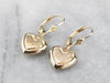 Gold Heart Drop Earrings