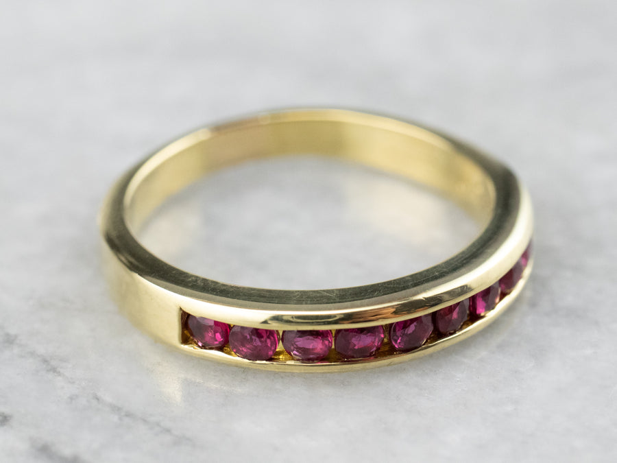Fine 18K Yellow Gold Ruby Band