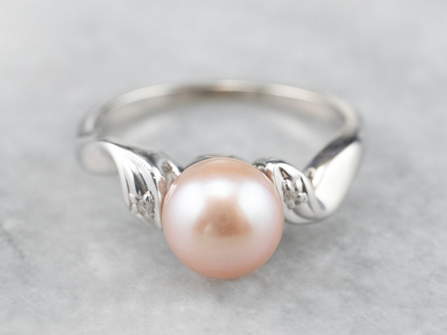 White Gold Pink Pearl and Diamond Ring