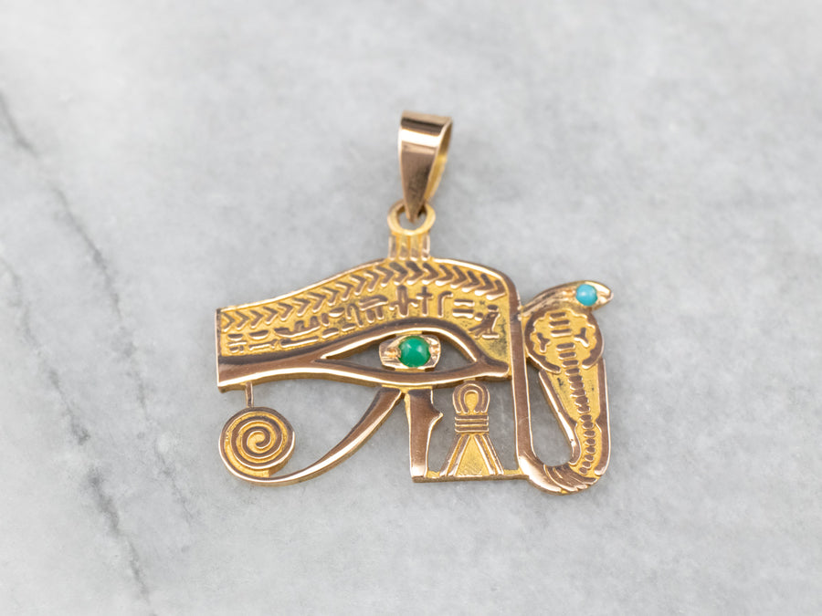 Gold Egyptian Eye of Horus Pendant