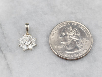 Floral White Gold Diamond Cluster Pendant