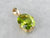 Yellow Gold Peridot Solitaire Pendant