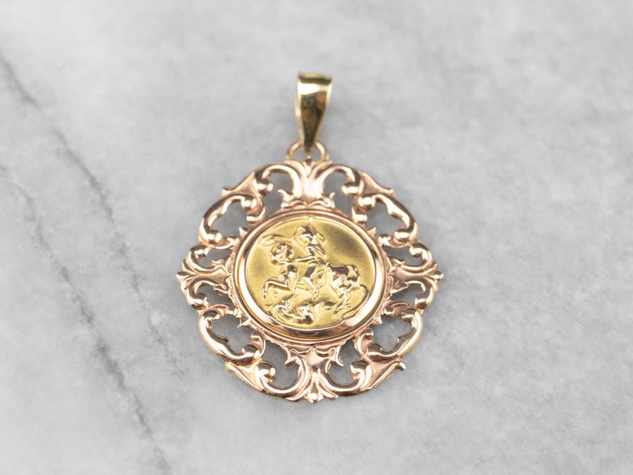 Two Tone Gold Saint George Medallion