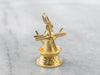 Vintage Moving Lighthouse Windmill Gold Charm
