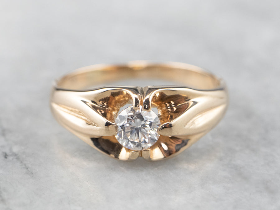 Gold Unisex Diamond Belcher Ring