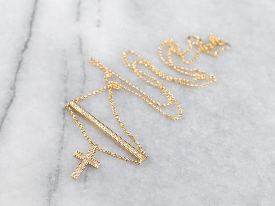 Diamond Bar Necklace with Cross Charm