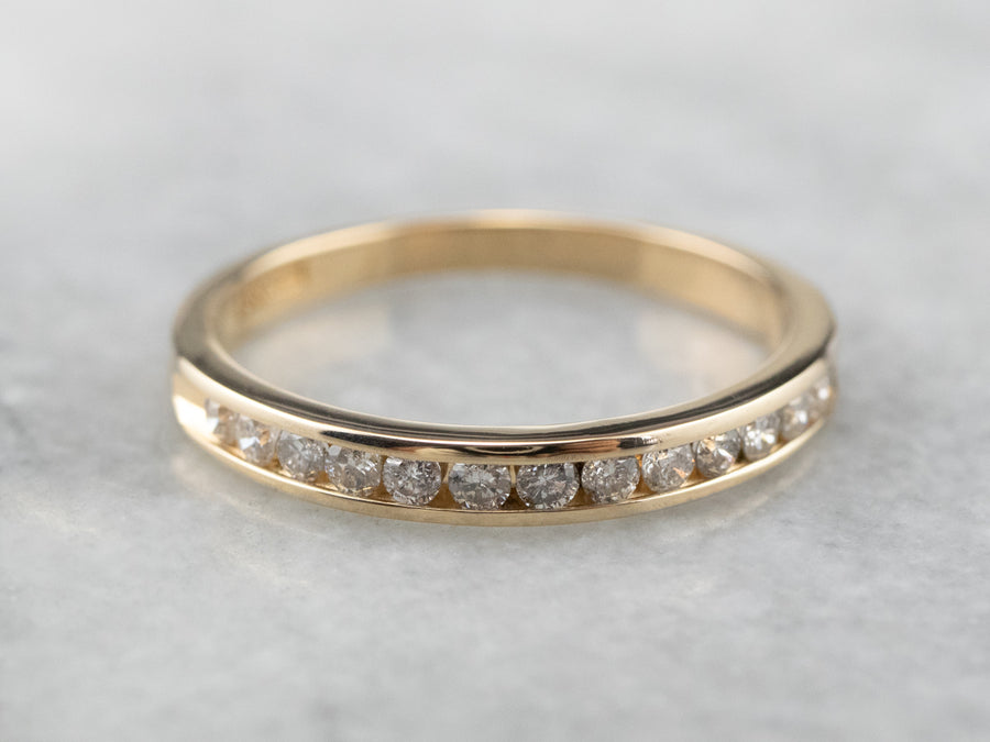 Channel Set Diamond Gold Wedding Band