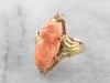 Art Nouveau Coral Cameo Gold Ring