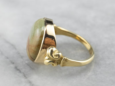 Picture Jasper Gold Statement Ring