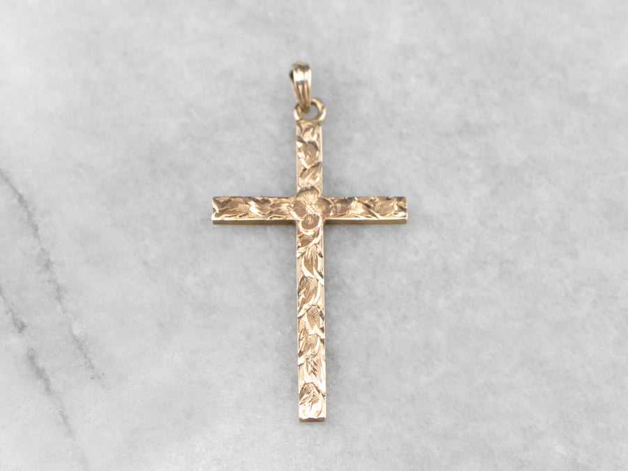 Engraved 1950s Gold Cross