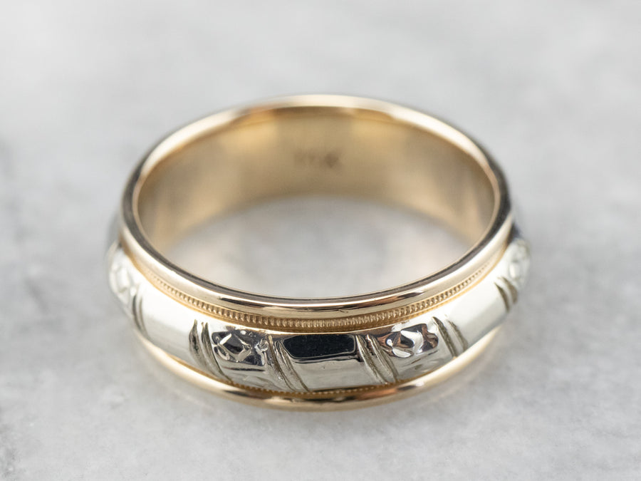 Unisex Two Tone Gold Pattern Band