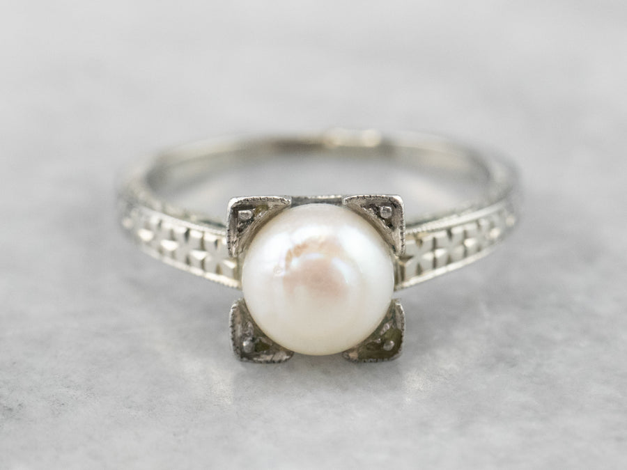 Art Deco Pearl White Gold Solitaire Ring