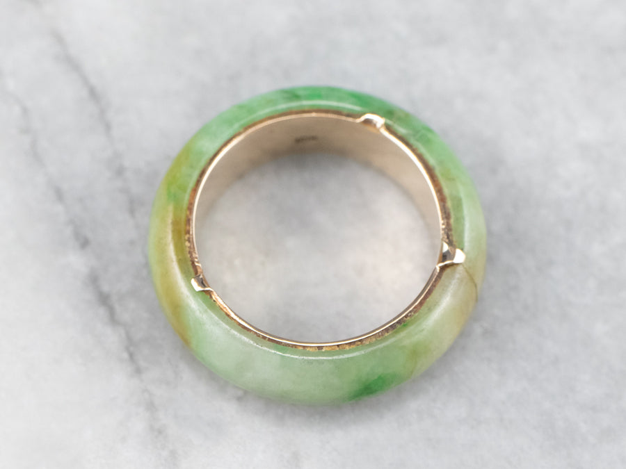 Jade and Gold Eternity Band