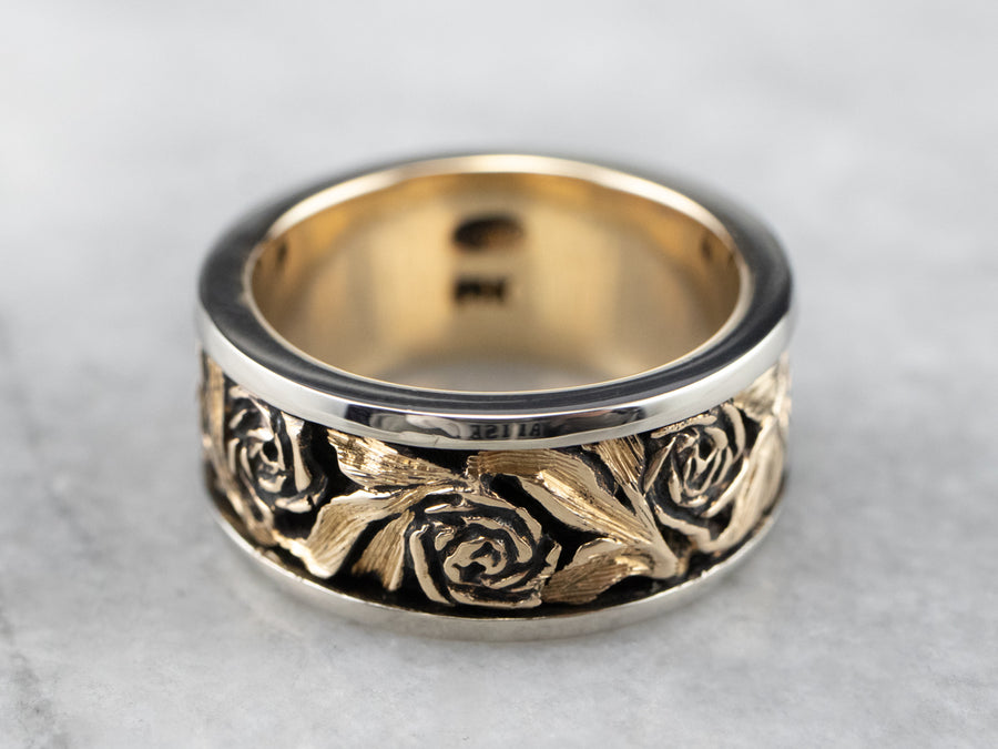 Vintage Carved Rose Gold Band