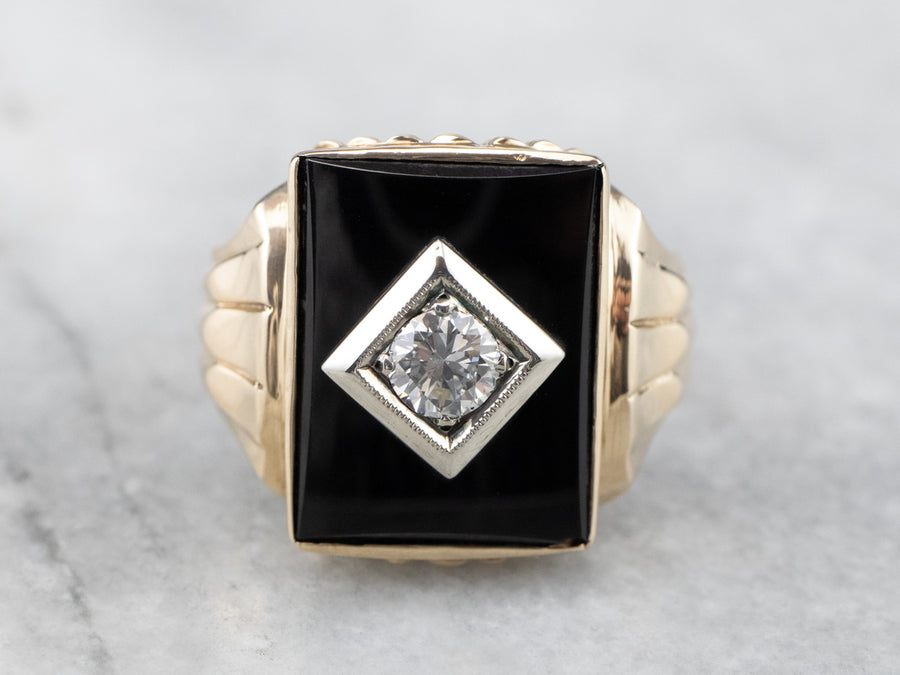 Men's Black Onyx and Diamond Retro Era Ring