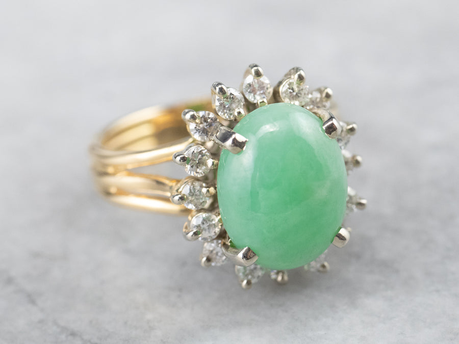 Vintage Jade and Diamond Halo Ring