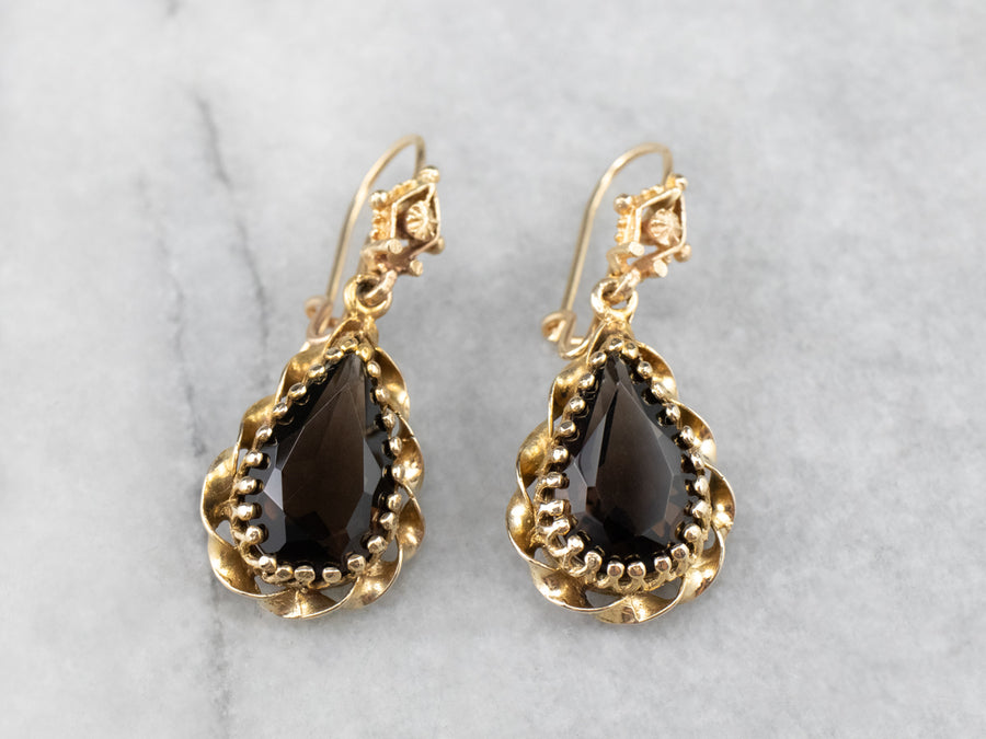 Smokey Quartz Ornate Gold Drop Earrings