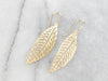 18K Gold Pierced Leaf Drop Earrings
