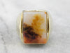 Men's Yellow Gold Agate Statement Ring