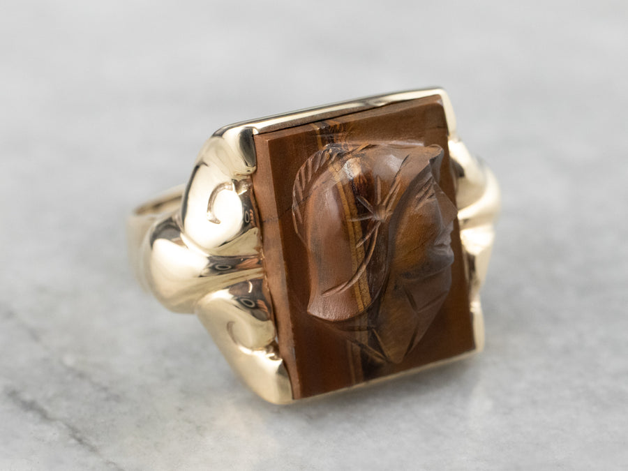 Men's Tiger's Eye Intaglio Ring