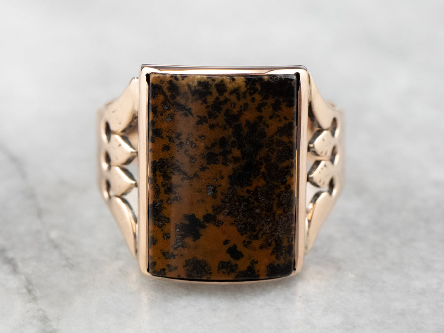 Victorian Leopard Jasper Rose Gold Ring