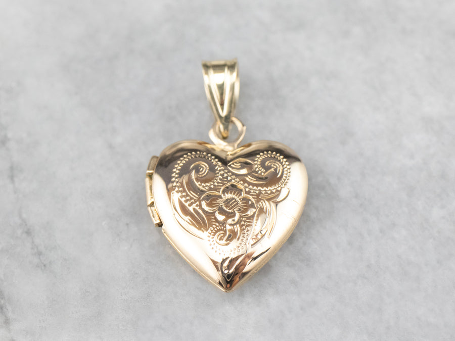 Small Engraved Gold Locket