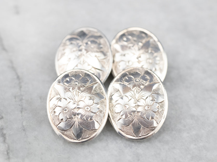 Antique Sterling Silver Floral Cufflinks
