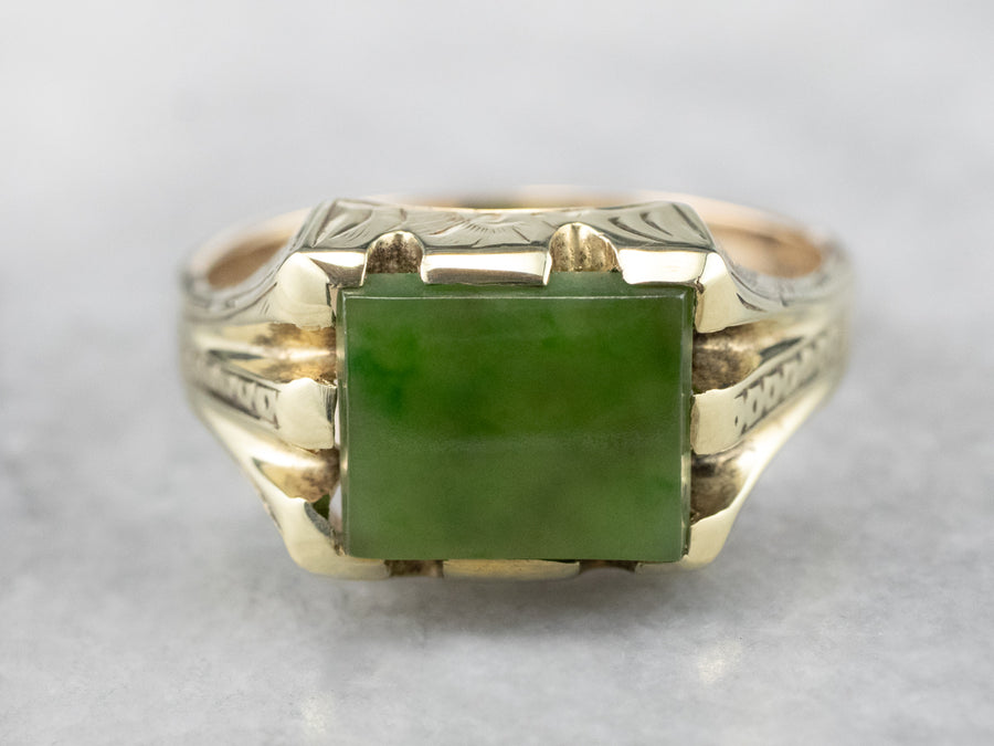 Retro Green Gold Men's Jade Ring