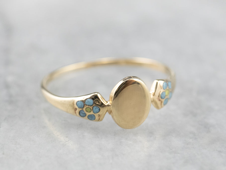 Antique Forget-Me-Not Floral Signet Ring