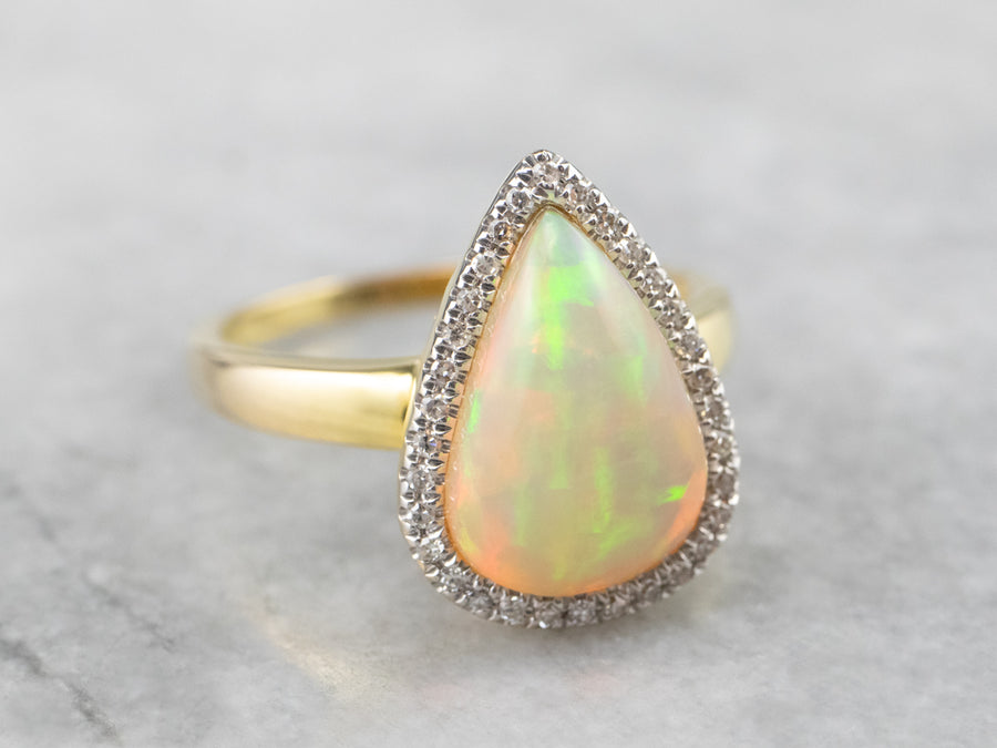 Teardrop Opal and Diamond Halo Ring