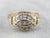 Floral 1940's Two Tone Gold Diamond Ring