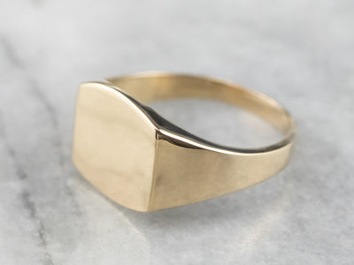 Unisex Yellow Gold Signet Ring
