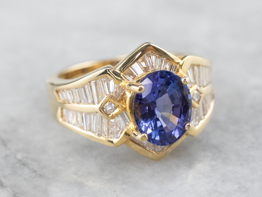 Tanzanite Diamond 18K Gold Statement Ring