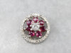Diamond Ruby Cluster White Gold Pendant