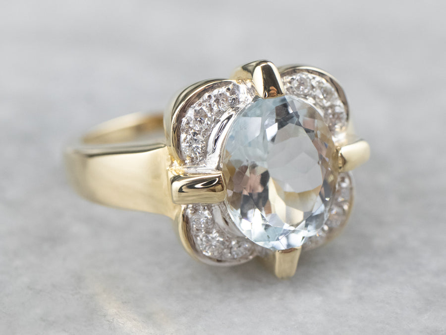Blue Topaz Diamond Halo Gold Ring
