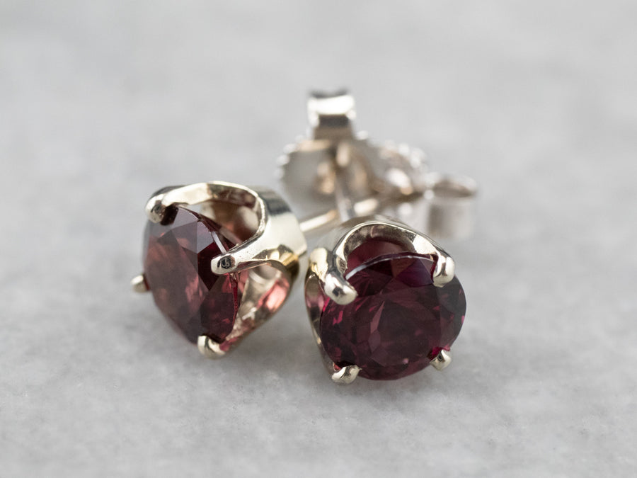 Rhodolite Garnet White Gold Stud Earrings