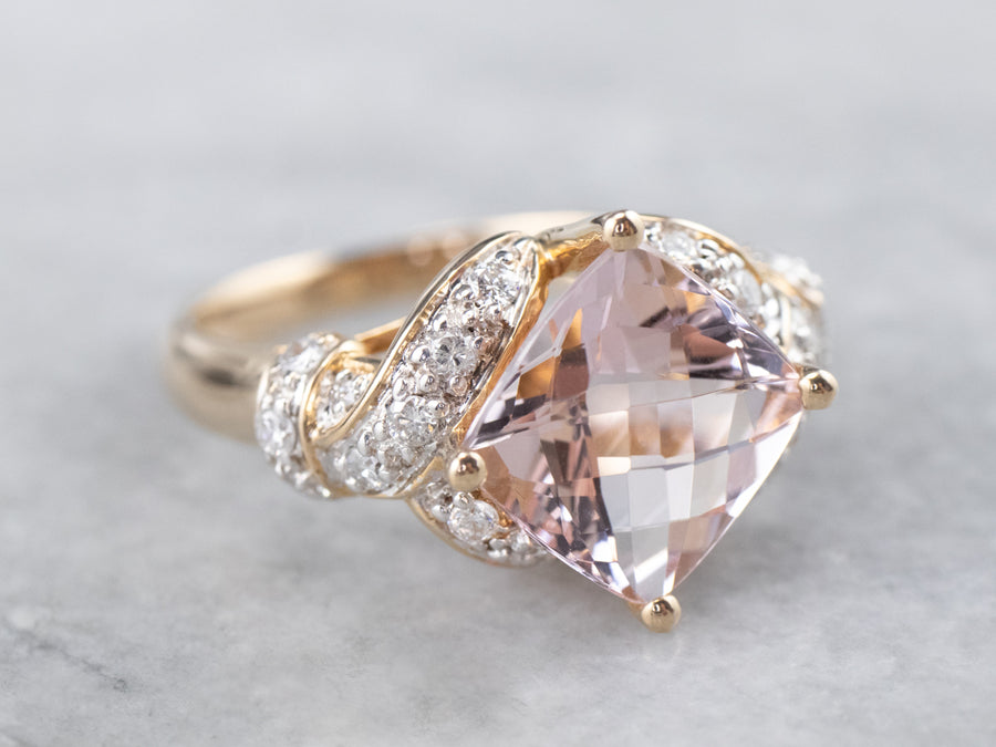 Morganite Diamond Gold Statement Ring