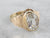 Vintage White Sapphire Floral Gold Solitaire Ring