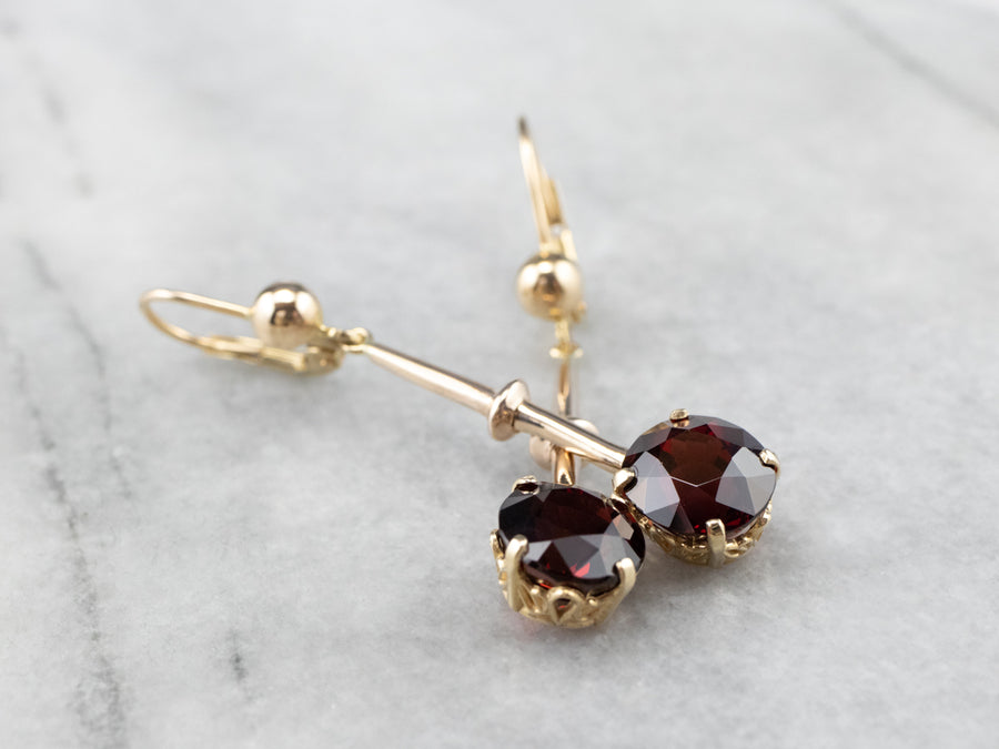 Garnet Gold Bar Drop Earrings