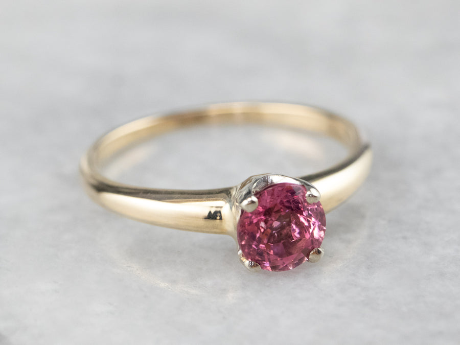 Pink Tourmaline Gold Solitaire Ring