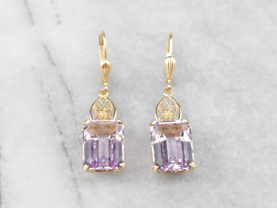 Pale Amethyst Gold Filigree Drop Earrings