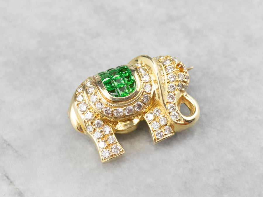 Diamond Tsavorite Garnet Gold Elephant Brooch