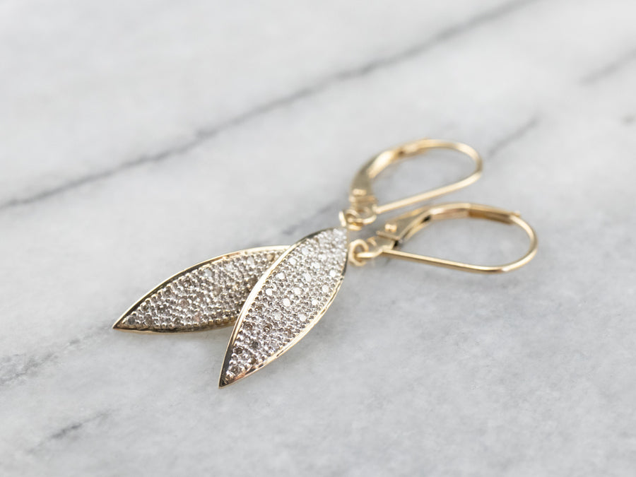 Diamond Leaf Gold Drop Earrings