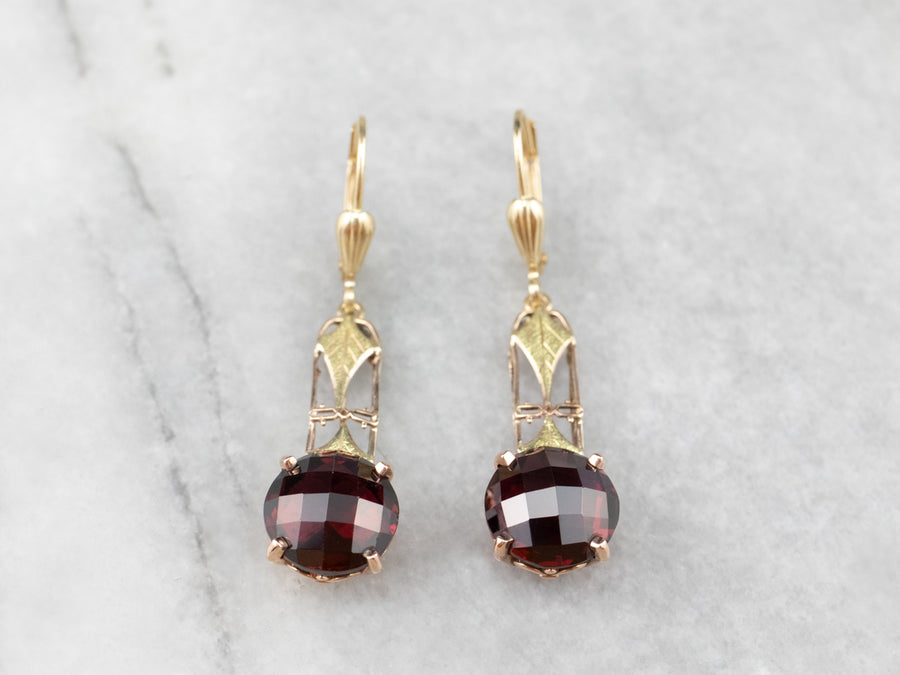 Garnet Gold Filigree Bar Drop Earrings