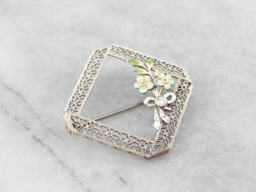 Art Deco Diamond Enamel Floral White Gold Filigree Brooch