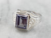 Art Deco Synthetic Alexandrite White Gold Ring