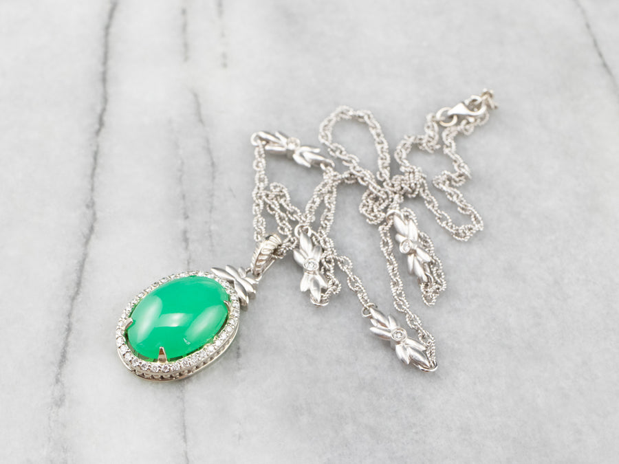 Chrysoprase Diamond Halo White Gold Pendant Necklace