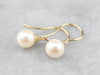 White Pearl and Gold Drop Earrings