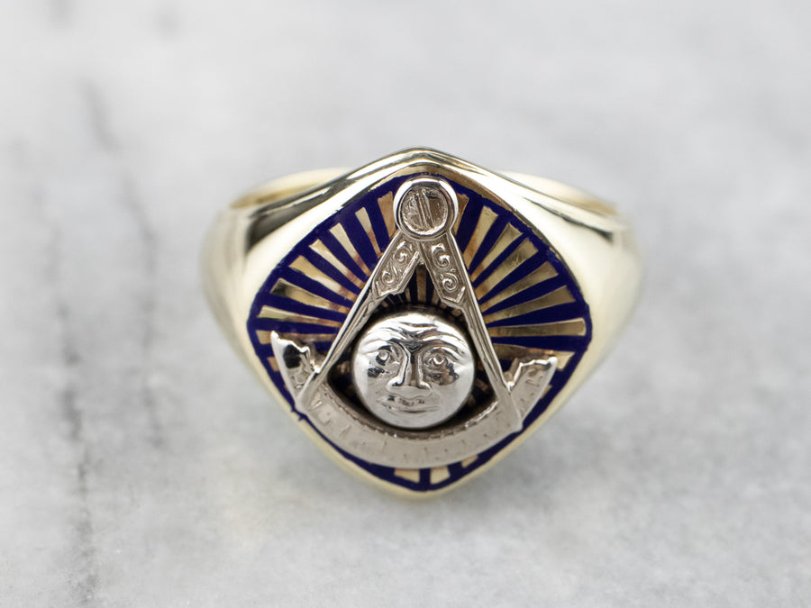 Vintage Masonic Blue Enamel and Gold Ring