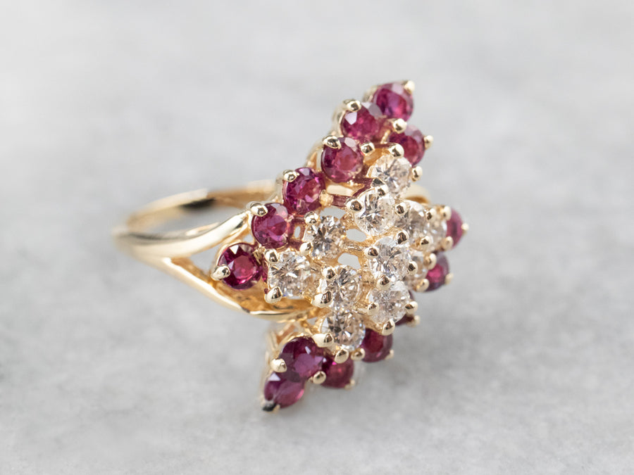 Gold Diamond and Ruby Cluster Ring